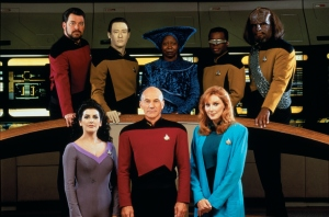 We had to put Guinan in the back otherwise that hat would block everyone.